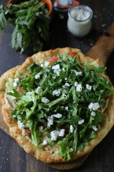 Hummus + Goat Cheese Arugula Pizza Salad | Created in collaboration with @presidentcheese #ArtOfCheese