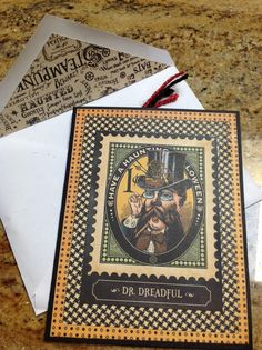 Halloween card. Graphic 45 Steampunk Spells.  Pic 1 of 2
