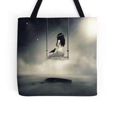 Sureal/conceptual Scenery Of Young Girl On Swing | Tote Bag
