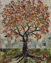 Large Tree Collage by Jane Desrosier Tree Collage, Paper Collage Art, Paper Art, Tree Of Life Art, Tree Art, Assemblage Art, Mosaic Art, Mosaics, 2d Art