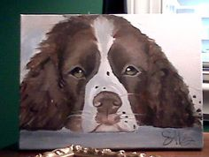 oil on canvas :: woods, english springer spaniel