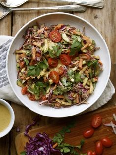 Thai Vegetable Slaw with Sriracha, Lime and Nut Butter Dressing.
