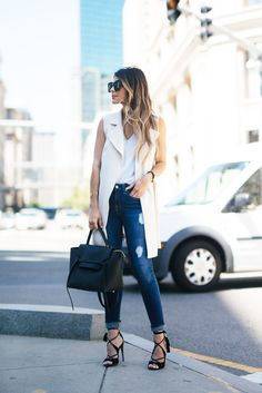 Ripped jeans, white vest, aquazzura sandals, celine belt bag, summer must-haves | The Girl From Panama
