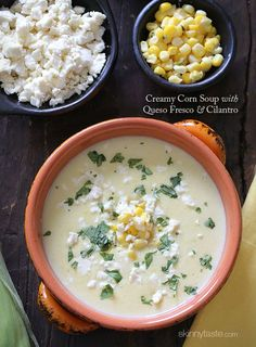 Creamy Corn Soup with Queso Fresco and Cilantro – Inspired by a Cream Corn soup from the Andean region of Colombia, this soup is sweet and savory and perfect to make now with sweet summer corn in season.