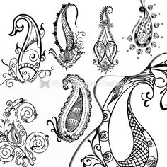 Illustration Paisley Designs Vector Set