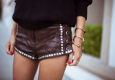 H Leather Studded Shorts