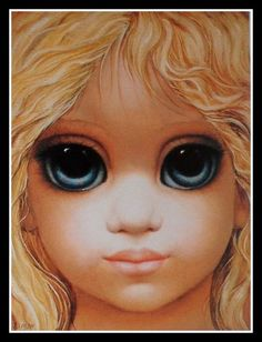 Golden Girl by Margaret Keane painting Orange tones against the blue eyes posted by Chase