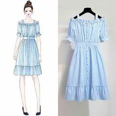 New Dress White Simple Prom Ideas Cute Fashion, Asian Fashion, Look Fashion, Girl Fashion, Fashion Women, Fashion Drawing Dresses, Fashion Dresses, Trendy Dresses, Cute Dresses