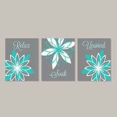 Teal Gray Bathroom Wall Art Bathroom Wall Decor Relax Soak Unwind Floral Bathroom Decor Prints Or Canvas Bathroom Pictures Set of 3 Navy Bathroom Decor, Gray Bathroom Walls, Bathroom Canvas, Grey Bathrooms, Bathroom Wall Decor, Bathroom Ideas, Bathroom Pink, Bathroom Closet, Bathroom Cabinets