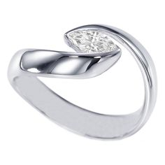 Marquise Diamond Solitaire Horizontal Swirl Engagement Ring Bezel Set in 14K White Gold
