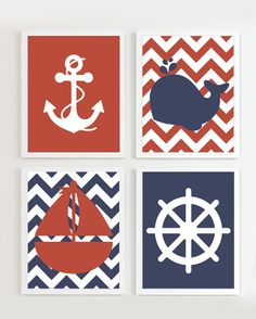 Nautical Prints Teal Grey Navy set of 4 Beach by PrincessSnap Nautical Prints, Nautical Theme, Baby Boy Rooms, Baby Boy Nurseries, Child Draw, Nautical Bedroom, Baby F, Teal And Grey, Bathroom Kids