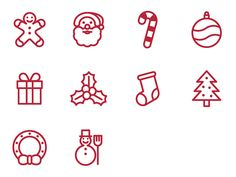 Christmas outline flat SVG icons featured on Iconarchive and Iconfinder and available for free download at https://www.iconfinder.com/iconsets/christmas-icons and http://www.iconarchive.com/show/christmas-icons-by-danieledesantis.html #graphicdesign #icon #icons #vector #vectors #ui #christmas #gingerbread #santaclaus #candycane #ball #gift #mistletoe #snowman #christmastree #wreath #svg #freebies #free