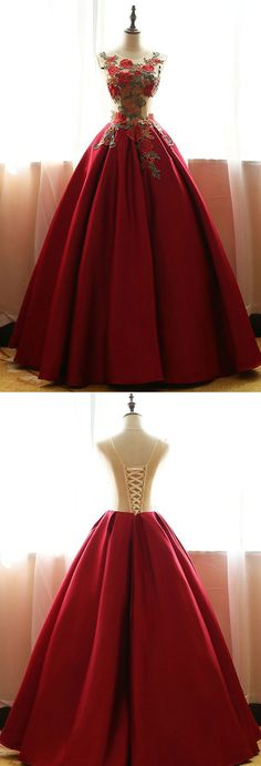 Prom Dress Princess, Red Quinceanera Dresses,Floral Satin Aline long Applique Ball Gown Prom Dress Shop ball gown prom dresses and gowns and become a princess on prom night. prom ball gowns in every size, from juniors to plus size.