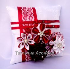 Ring Pillows Spain Red and White by LIKKO on Etsy