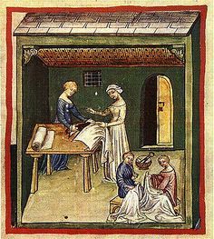 Making Linen Clothing, from the Tacuinum Sanitatis. Includes advice on when to wear linen based on humoural theory.