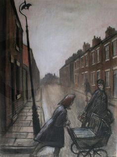 Norman Cornish Spennymore Street Scene Norman Cornish, Pencil Drawings, Art Drawings, Landscape Paintings, Landscapes, British Artists, Working Class, Painters, Painting & Drawing