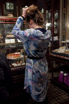 16.12 Miriam Stein shopping for sweets in Vienna - wearing the A Day in a Life Mountain Printed Silk Chiffon Shirt Dress and the Navy Ribbed Turtleneck Dress