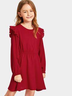 Однотонное платье с эластичной талией для девочек