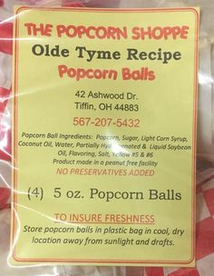 The Popcorn Shoppe recalls various popcorn ball products