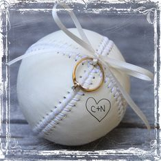 Baseball Love Ring Bearer Pillow Alternative - Hand Stiched Leather - Personalized - White Cream - MLB Fan - Weddings Sports Decor Play on Etsy, $29.00