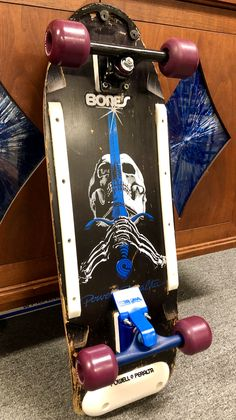 Vintage Powell Peralta Skull & Sword Black Dip w/ Purple Street Bones Wheels