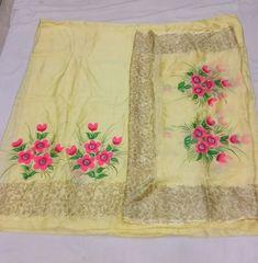 Saree Painting Designs, Fabric Paint Designs, Paint Fabric, Fabric Painting, Embroidery Suits Design, Creative Embroidery, Embroidery Designs, Punjabi Suits Designer Boutique, Boutique Suits