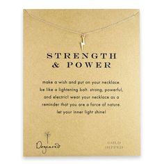 strength and power reminder necklace with gold dipped lightning bolt
