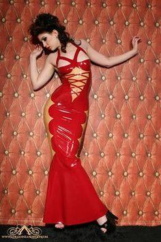Full length mermaid bottom latex gown / dress by VENUS PROTOTYPE. via Etsy.