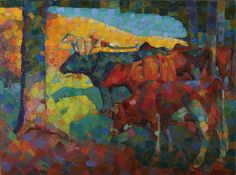 """Munn's painting """"Untitled (Cows on a Hillside),"""" (c. Art Gallery of Ontario) is closely related to those of contemporary German Expressionist painter Franz Marc and others associated with the Blaue Reiter group. Art Gallery Of Ontario, Sarah Moon, Moon Painting, Canada, Irish Art, European Paintings, Canadian Artists, Art Google, Contemporary Artists"""