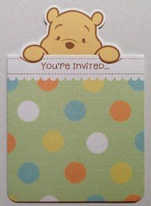 "WINNIE THE POOH Party Invitations & Envelopes BABY SHOWER (10 Count) by Winnie The Pooh. $8.98. Includes 10 Invitations & 8 Envelopes. Inside are Places for Occasion, Date, Time, & Place. Outside Reads:  ""You're Invited!"". Inside Reads:  ""To a Baby Shower!"". WINNIE THE POOH BABY SHOWER Party Invitations & Envelopes. BRAND NEW Store Stock...WINNIE THE POOH BABY SHOWER Party Invitations...10 Invitations &  Envelopes...Inside Spots for Name, Time, etc"