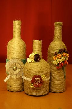 Twine wrapped wine bottles by UnlockHappiness on Etsy