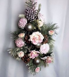 Shabby Chic Cottage Floral Wreath Arrangement Pink Christmas Door Swag Roses