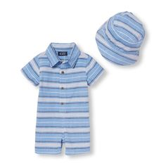 976e9e1cf2 Baby Boys Short Sleeve Striped Oxford Romper And Bucket Hat Set