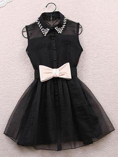 Cute Turn-Down Collar Sleeveless Spliced Rhinestoned Women's Dress
