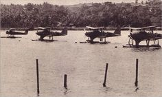 Japanese Navy Type 0 Observation Seaplane 'Pete') and Navy Type 95 Reconnaissance Seaplane 'Dave') Sagara Maru Air Group at Port Blair Andaman Islands 1942 Port Blair, Andaman Islands, Float Plane, Imperial Japanese Navy, Flying Boat, Aircraft Photos, World War Two, Wwii, Aviation