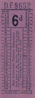 Vintage Ephemera - Bus Ticket..... in lots of colours