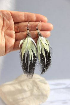 Yellow Earrings, Tribal Earrings, Etsy Earrings, Small Earrings, Feather Jewelry, Feather Necklaces, Feather Earrings, Hippie Style, Boho Style