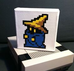 too easy to make yourself    Black Mage Warriors of Light 6x6 Painting by BadguysequalXPs, $25.00