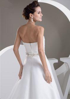 White/Ivory A Line Organza Belt Wedding Dress - Uniqistic.com