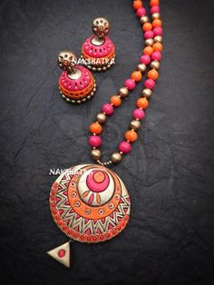 Multicolor Long Necklace Set By Nakshatra Terracotta – Jumkey Fashion Jewellery Terracotta Jewellery Making, Terracotta Jewellery Designs, Fashion Jewelry Stores, Fashion Jewellery, Teracotta Jewellery, Handmade Jewelry Designs, Handmade Jewellery, Funky Jewelry, Gold Jewelry