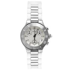 Cartier Women's W10197U2 Must 21 Chronoscaph Stainless Steel and White Rubber Chronograph Watch: Watches