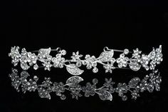 Flower Leaf Bridal Headband Tiara  Clear Crystals Silver Plating T615 * Be sure to check out this awesome product.