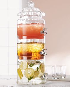 Stacked Optic-Glass Beverage Server - Horchow > this would look great on the bench!