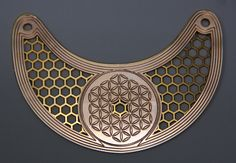 Flower of Life and Bee Honeycomb layered neck piece. In copper, 24K rose gold and 24K yellow gold. by Phillippa Carnemolla   www.phillippa.com.au Bee Honeycomb, Neck Piece, Built Environment, Flower Of Life, Copper, Rose Gold, Yellow, Crafts, Design