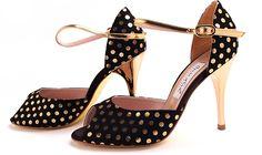 Comme il Faut - Negro y Dorado Lunares- Lisadore - Argentina Tango Shoes - Salsa Shoes - Dancing Shoes - Every Month New Models - Visit our website www.lisadore.com