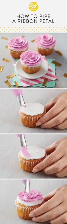 Learn how to pipe a buttercream ribbon petal to create a beautiful and simple flower to top any delicious dessert! #wiltoncakes #buttercream #basics #cakedecorating #howto #cakes #cakedecorating #cakeideas #howto #piping #flowers #rose