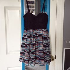 Macy's dress In amazing condition. Straps are adjustable. Cute and fun pattern dress! Material Girl Dresses Mini