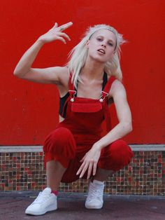 Wow red overalls !