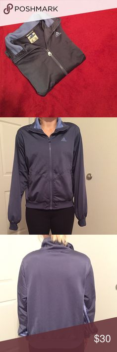 Adidas Jacket Dark Blue Medium Beautiful Adidas jacket with two open pockets. Size is Medium. Color is some darker shade of blue with light blue for the lines. 100% polyester. Selling it because it is too big on me on the sleeves. Adidas Jackets & Coats