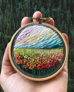 Embroidered landscapes by @shimunia ! . . Follow @artinstic for more